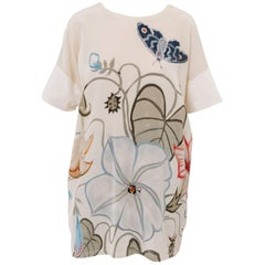 Gucci and Kris Knight Resort Ivory Silk Floral Butterfly Shirt, 2015