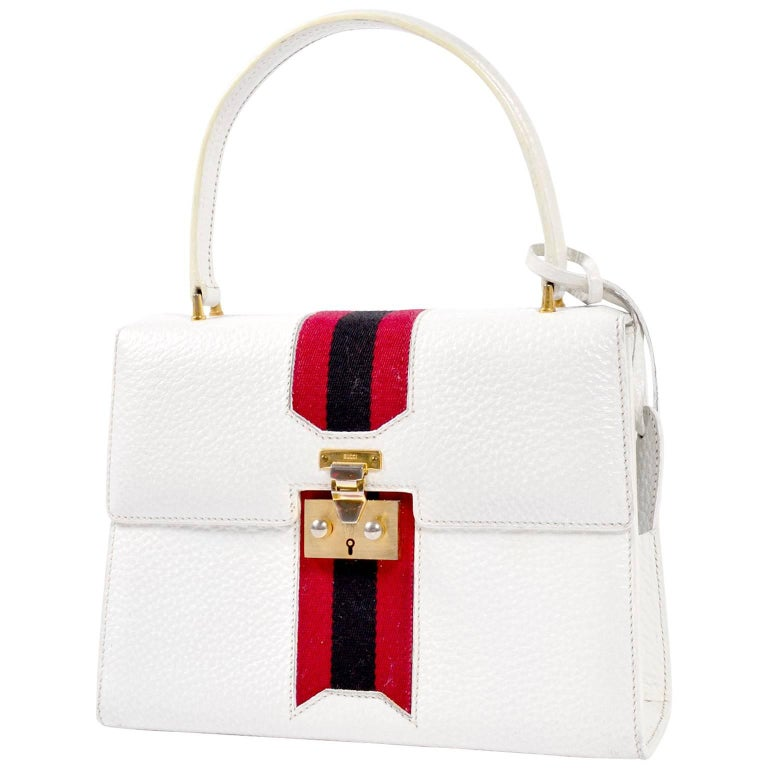 Vintage White Gucci Handbag Satchel in Leather With Stripes & Key Lock