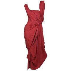 Andreas Kronthaler for Vivienne Westwood Burgundy Cartie Dress A / W 2016 Size I