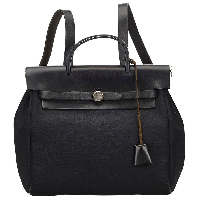 Hermes Black Herbag Backpack