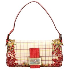 Fendi Red and Multi Sequined Baguette