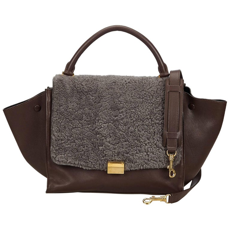 Celine Brown and Gray Trapeze Satchel