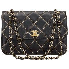 Chanel Black Surpique Lambskin Leather Flap Bag