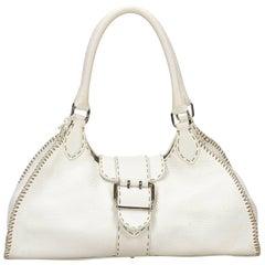 Fendi White Selleria Shoulder Bag