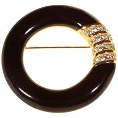 1980's Black Enamel Circle Brooch by Swarovski America Limited