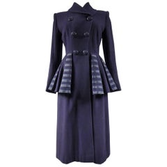 Woollen Navy blue Coat rationing period England, 1940s