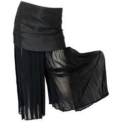 Chic 1990s Italian Black Chiffon Wide Palazzo Leg Cropped Culottes w/ Mini Skirt