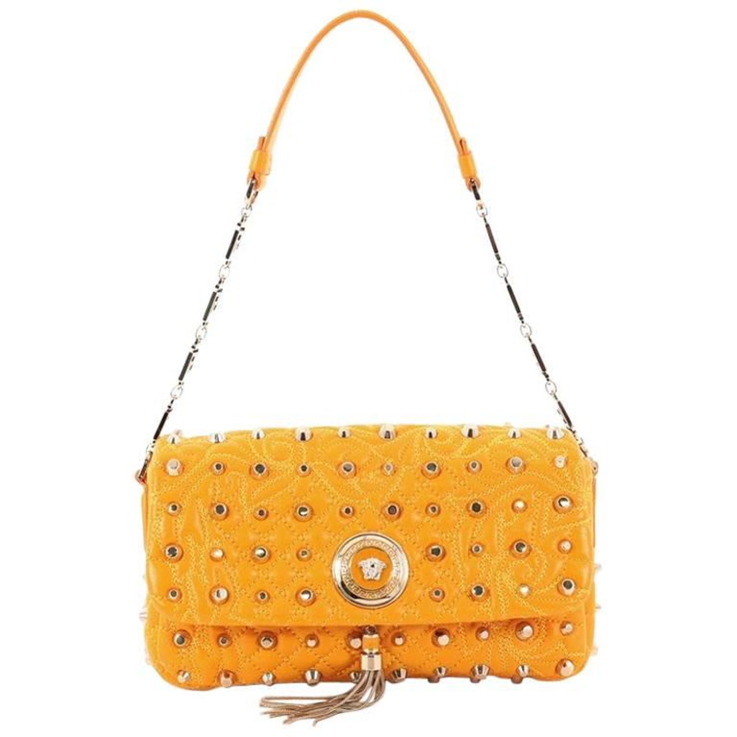 8cdfd0e6d5 Versace Vanitas Medea Flap Bag Studded Barocco Leather at 1stdibs