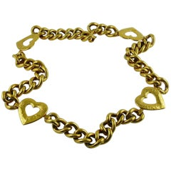 Yves Saint Laurent YSL Vintage Gold Toned Heart Chain Belt