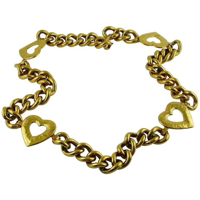 5079c440cde Yves Saint Laurent YSL Vintage Gold Toned Heart Chain Belt For Sale ...