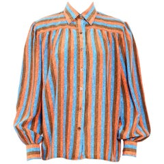 Celine logo printed striped silk blouse, 1980s