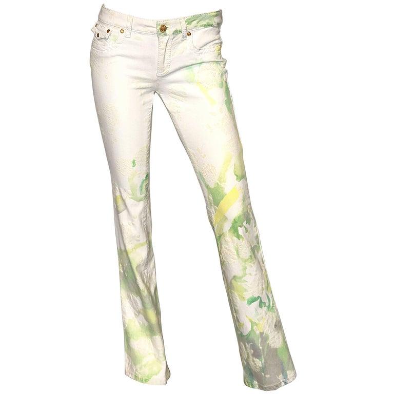 Roberto Cavalli 2000s Low Rise White + Green + Yellow Boot Cut Size 4 / 6 Pants