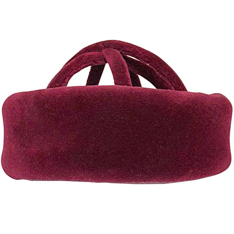 d6bd5fa3bde 1960s Cardinali Original Sample Burgundy Maroon Avant Garde Velvet 60s Cage Hat  For Sale