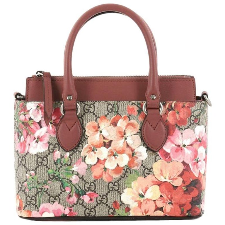 c116b14d057 Gucci Linea A Convertible Tote Blooms Print GG Coated Canvas Mini For Sale