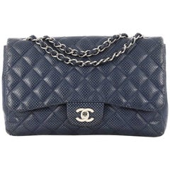 Chanel Classic Single Flap Bag Quilted Perforated Leather Jumbo