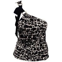 Gucci Black & White Silk Halter Top