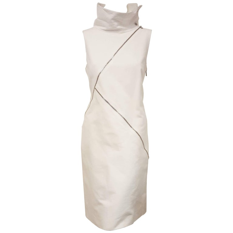 Michael Kors Ivory Multi Zippered Accented Dress