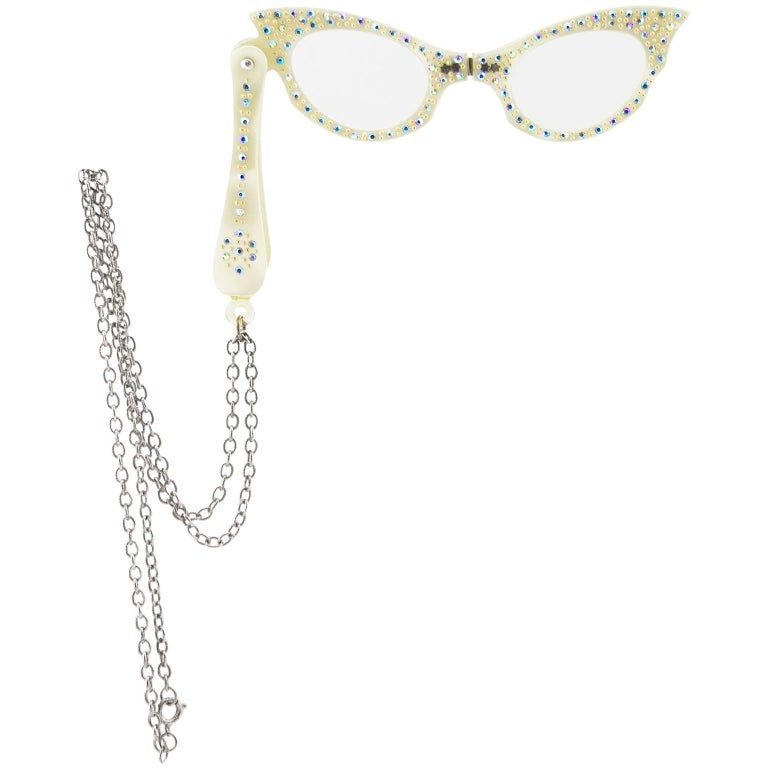 1960s White Folding Opera Cat Eye Glasses with Rhinestone Embellishment