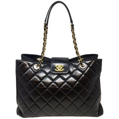 Chanel Shopping Tote Bag , Aged Calfskin Black Leather , 2016