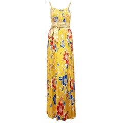 Delicious D & G Yellow Floral Empire Waist Dress with Gold Tone Leather Belt