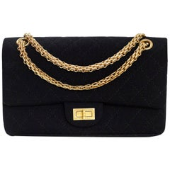 Chanel Black Jersey Reissue 2.55 Reissue 225 Double Flap Bag with Box