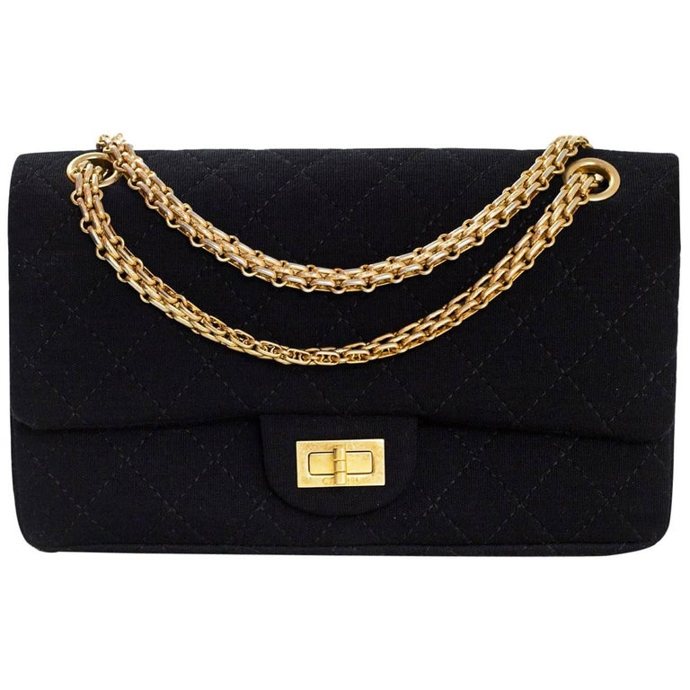 5f4441dbc11c57 Chanel Black Jersey Reissue 2.55 Reissue 225 Double Flap Bag with Box For  Sale