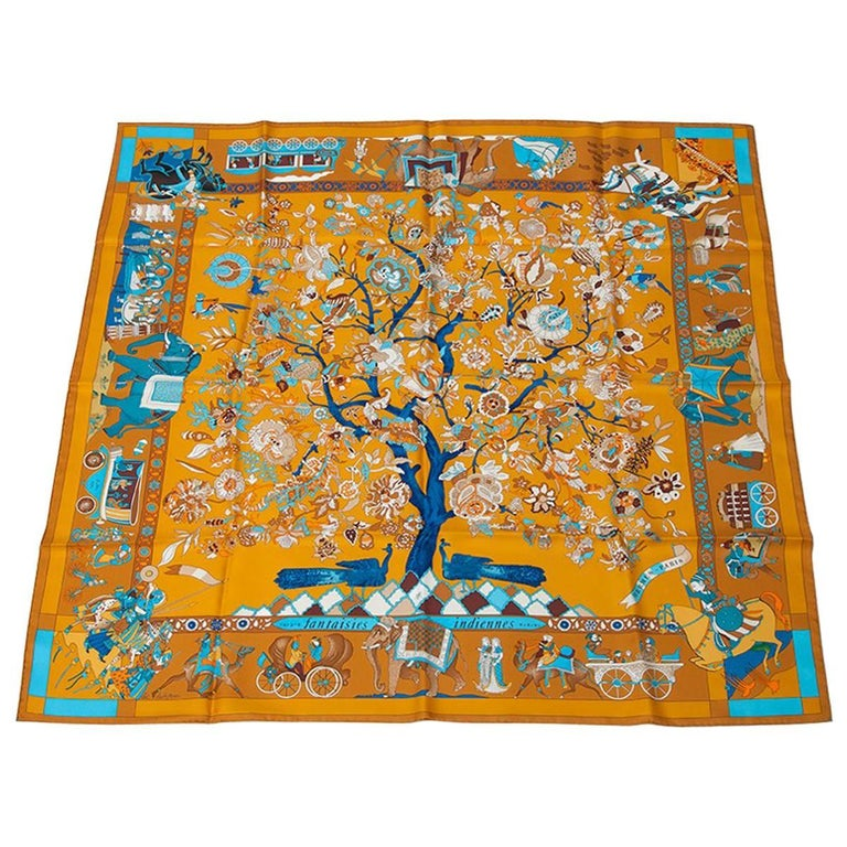 """Hermes """"Fantaisies Indiennes"""" Silk Twill Carre Scarf"""