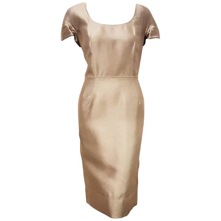 Delightful Dolce & Gabbana Sage Green Cotton Blend Cap Sleeve Marked Waist Dress