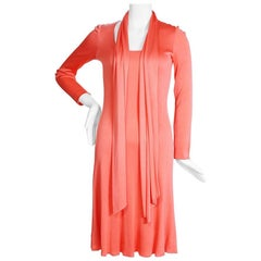 Halston Coral Stretch Jersey Ballet Dress with Matching Scarf, circa 1970s