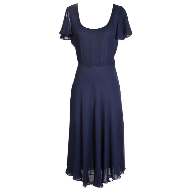 Halston Navy Silk Dress with Butterfly Sleeves, circa 1970s