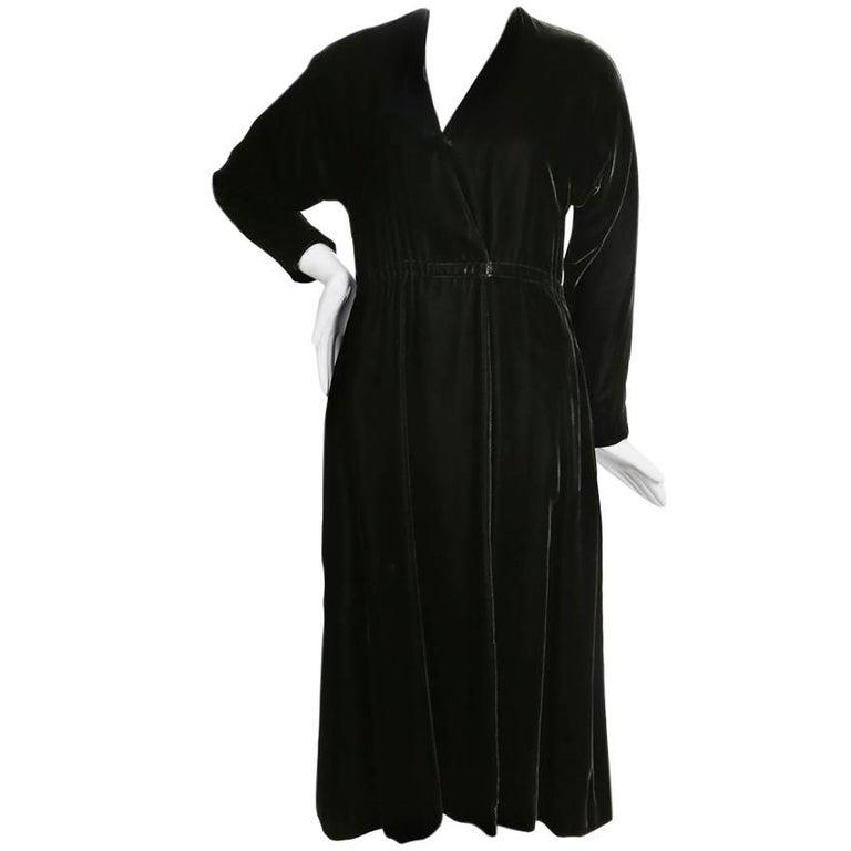 Halston Emerald Velvet Long Sleeved Wrap Dress, circa 1970s
