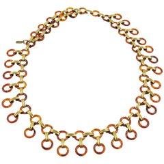 Yves Saint Laurent Paris Tortoise Lucite Brass Necklace Waist / Hip Belt