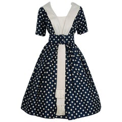 1950's Suzy Perette Navy Polka-Dot Print Silk Belted Full Skirt Dress w/Tags