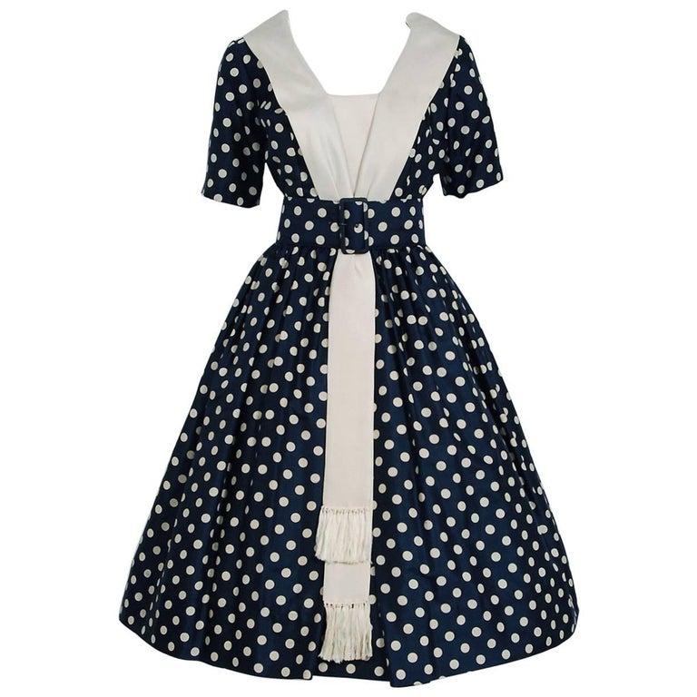 1950's Suzy Perette Navy Polka-Dot Print Silk Belted Full Skirt Dress w/Tags
