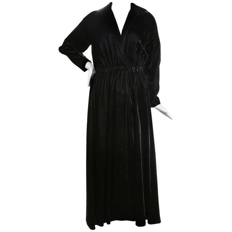 a72eb902b7c Halston Black Velvet Long Sleeved Wrap Dress