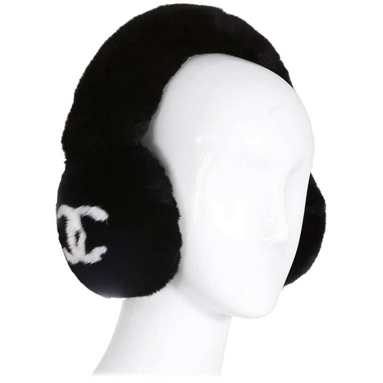 Chanel Fur Ear Muffs with CC Logo, contemporary
