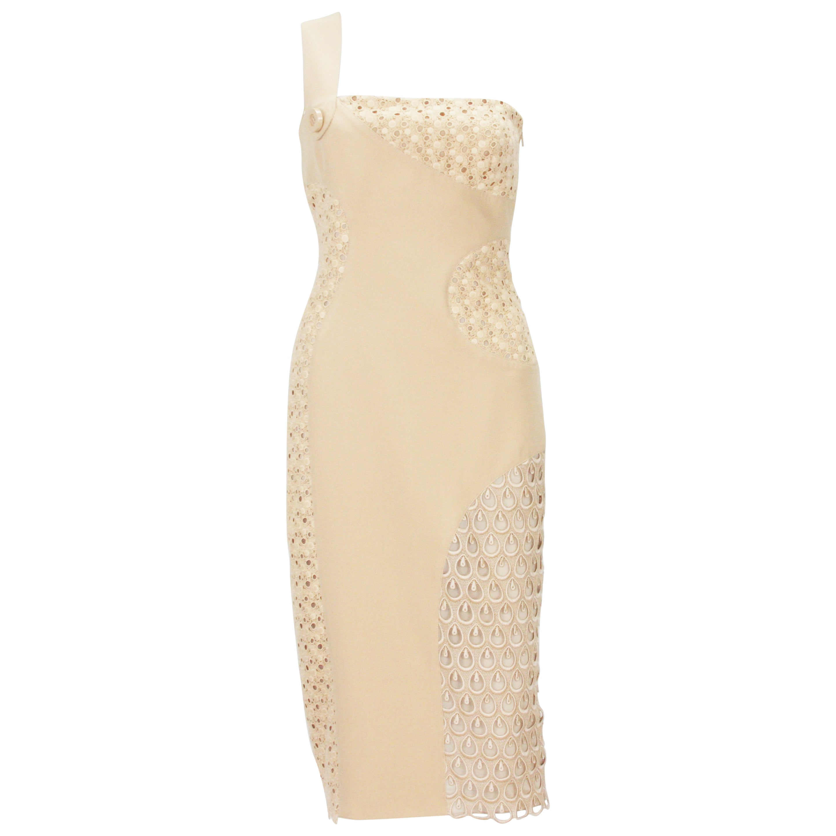 New Versace Nude Crocheted Cotton and Silk-Cady One-Shoulder Dress 40