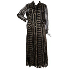 Chanel Black Lace with Gold Stripes Peasant Dress, circa 1970s