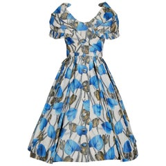 Christian Dior Demi-Couture Blue Floral Silk Portrait Collar New Look Dress 1956