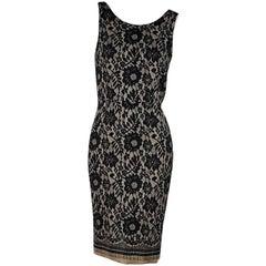 Dolce & Gabbana Tan and Black Lace Sheath Dress