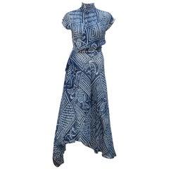 1990's Ralph Lauren Silk Wrap Dress With Tribal Blue & White Print