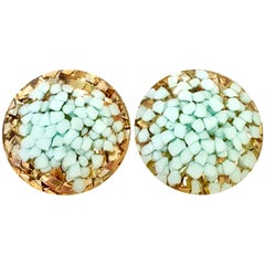 60'S Lucite Gold & Aqua Fleck Confetti Earrings