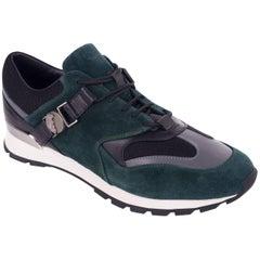 Versace Collection Green Black Suede Low Top Sneakers