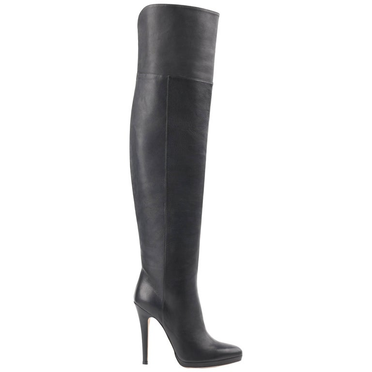"JIMMY CHOO ""Gypsy"" Black Leather Fitted Over The Knee Heeled Boots"
