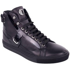 Versace Collection Black Patent Leather Harness Hi Top Sneakers