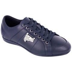 Versace Collection Blue Leather Low Top Sneakers