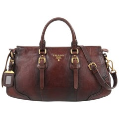 "PRADA A/W 2007 ""Cervo Antik"" Brown Distressed Deerskin Leather Buckle Satchel"