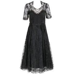 COUTURE c.1940's Black Floral Chantilly Lace Illusion Top Cocktail Dress