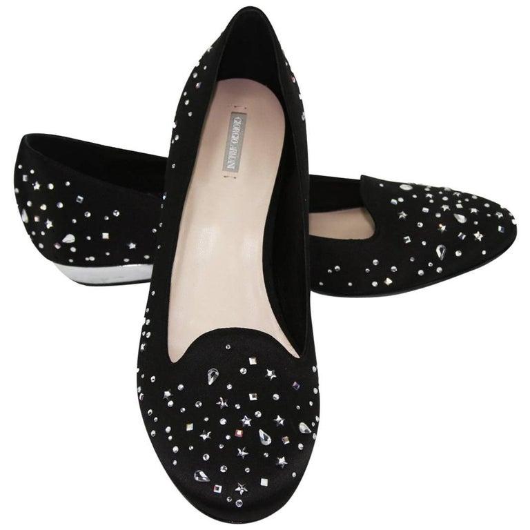 New Giorgio Armani Swarovski Embellished Loafers Slippers Flat Shoes It 39 US 9