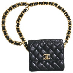 Chanel Vintage square 2.55 black fanny pack / pouch bag with thick chain belt